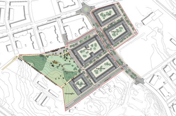 Planområdet för den nya detaljplanen kv Linnen m.fl.